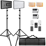 Video Licht LED, SAMTIAN LED Videoleuchte Kit FotografieBeleuchtung mit Stnder LED Panel Set 240pcs 3200 / 5600K fr YouTube Studio Fotografie