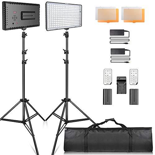 SAMTIAN Faretto LED Kit di Illuminazione, Video Luce 240 pezzi 3200 / 5600K Studio Pannello Set Lighting Dimmerabile Professionale con 2M supporto, Batterie e Caricabatterie per la Fotografia, Video