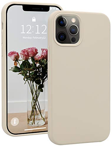 iPhone 12/iPhone 12 Pro Silicon Case, SOH Mingying Full Body Protective Phone Case, Premium Soft Rubber Shockproof Case Compatible with Apple iPhone 12/12 Pro(6.1Inch) (Stone)