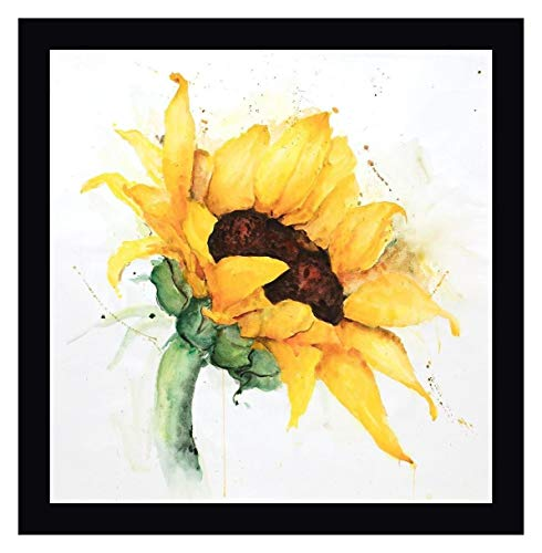 Watercolor Sunflower with Paint Splash by Atelier B Art Studio - 19' x 20' Black Framed Canvas Art Print - Ready to Hang