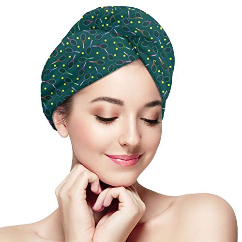 Blu e verde Racchette da tennis Soffioni doccia Asciugamani Cuffia da bagno Anti crespo Cura dei capelli