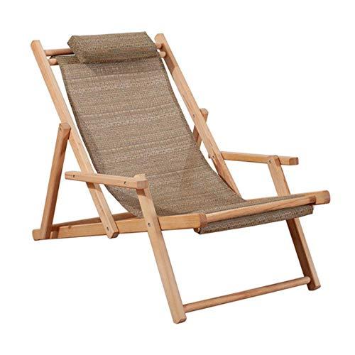 ISK - Silla Ajustable con armazón de Madera, portátil, para Patio, de Madera, para Playa, Plegable, Ajustable, Tumbona para Exteriores, con Brazo marrón