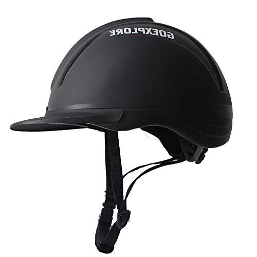Reithelm, Reithelm, Pferde Hut, Pferd Helm, Ultraleicht, Reitausrüstung for Erwachsene und Kinder, Motocross Helm, Fahrradhelm mit 3D Character Eigenschaften (Color : Black, Size : L)