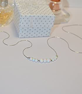 OPAL NECKLACE // Opal Ball Necklace - Opal Jewelry - White Opal Necklace Silver - Dot Necklace - Opal Bead Necklace - Opal...