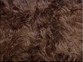 Fabrics-City DKLBRAUN LANGFLOR HOCHLANDRIND Fellimitat Teddy PLÜSCHSTOFF ZOTTELPLÜSCH MIKROFON Windschutz Fell Stoffe, 3142(dklbraun)