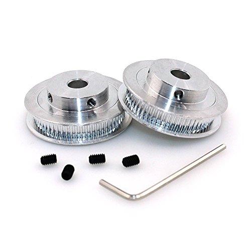 BIQU GT25mm 60Zahn- Bohrungs-Aluminium Zahnriemenscheibe für 3D Drucker 6mm breiter Gürtel (2er Pack), 60T Bore 8mm, 2