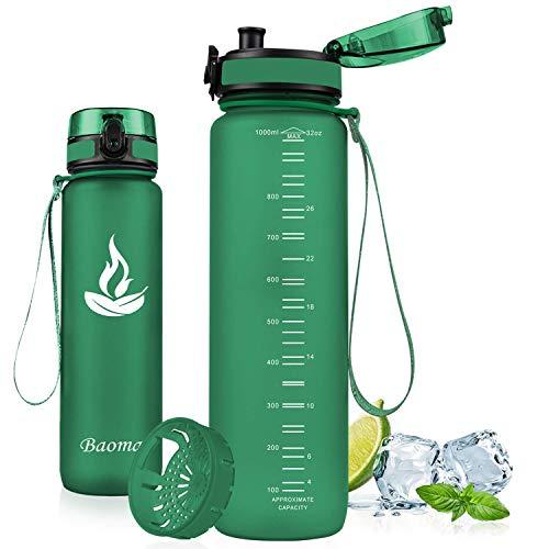 Baomay Trinkflasche Sport mit Sieb, BPA-Frei Auslaufsichere Wasserflasche 500ml, Kunststoff Sportflasche Fahrrad Für Kinder, Schule, Outdoor, Camping, Fitness, Yoga, Gym, Wasser Flasche aus Tritan
