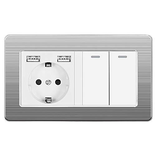 Wkd-thvb - Enchufe europeo con interruptor basculante (220 V, 16 A, con USB 146 x 86, placa de acero inoxidable con interruptor de luz, 2 velocidades 1/2/3, 2 marchas, 3 vías, 146 A2, blanco EU USB)