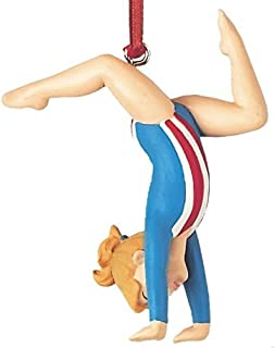 On Holiday Blonde Gymnast Girl Tumbling Floor Exercise Gymnastics Christmas Tree Ornament