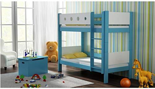 Risal LOONA Hochwertige Etagenbett Hochbett Massivholz mit Lattenroste mit Rausfallschutz Kinderbett Stockbett 80x180 (Weiß-Blau)