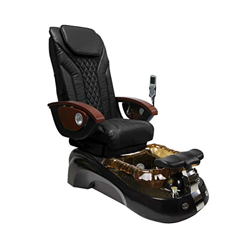 SIENA Shiatsulogic Pedicure Chair Black/Gold w/Discharge Pump Stylish Pedicure Tub with Pipe-less Whirlpool System Perfect for all Pedicure Spa, EX-16 Chair