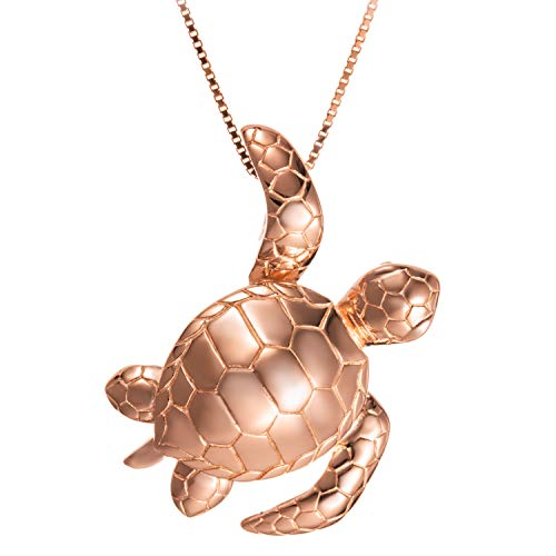 Sterling Silver 14K Rose-Gold Plated Waving Turtle Necklace Pendant with 18' Box Chain