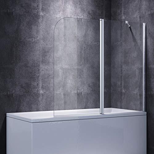 ELEGANT Duschwand für Badewanne 2-teilig Falttür Badewannen Faltwand 140x120cm(BxH)
