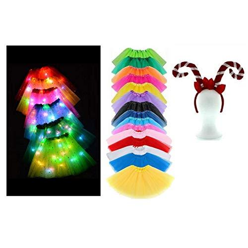 Be-Creative Disfraz de TUTUTUTUTUTUTUU de Navidad para nios - Tamao para nios (diadema con lazos de bastn de caramelo) LED con luz rosa tut