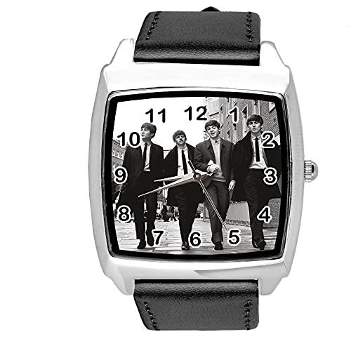 Reloj cuadrado de cuero negro para fanáticos del paseo de la música
