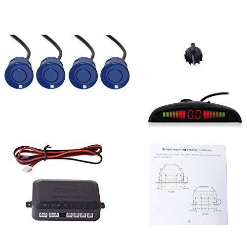 CoCar Auto Rückfahrwarner Einparkhilfe 4 Sensoren Einparkassistent Einparksystem PDC + LED Anzeigen + Akustische Warnung - Blau