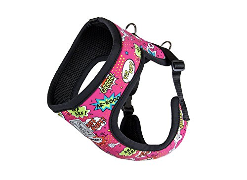 RC Pet Products Cirque Soft Walking Dog Harness, Small, Pink Comic Sounds