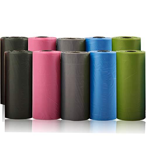 Bolsas para excrementos de Perro Colores 10 Rollos Total 150 Bolsas Poop Bag para Perro Mascotas Animales Domésticos