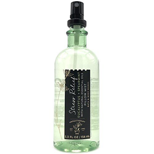 Bath and Body Works Aromatherapy Pillow Mist with Natural Essential Oils (Stress Relief, Eucalyptus + Spearmint)
