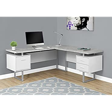 Monarch Specialties Computer Desk Left or Right Facing White / Cement-Look 70L