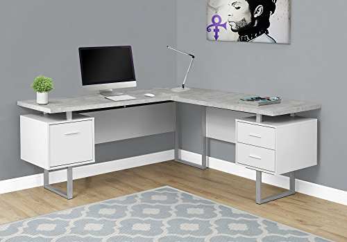 Monarch Specialties Computer 70'L Desk Left or Right Facing - White / Cement-Look