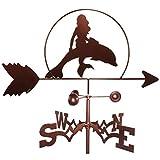 Banderuola Sirena Disegno Tradizionale Stile Country Kit Indicatore di Direzione del Vento in Ferro per Tetti Decorazione da Giardino da Giardino