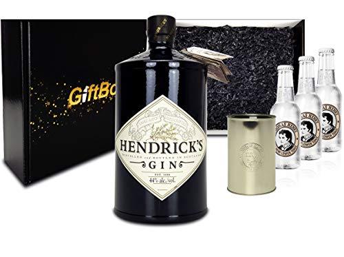 Gin Tonic Giftbox Geschenkset - Hendricks Handcrafted Gin 0,7l (44{8df84b5d66efff051fc1ae65d828013705d3efffdfa6e0ac6b8bb25ab5660790} Vol) + 3x Thomas Henry Elderflower Tonic 200ml inkl. Pfand MEHRWEG + Becher
