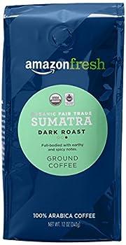 AmazonFresh Organic Fair Trade Sumatra Ground Coffee Dark Roast 12 Ounce