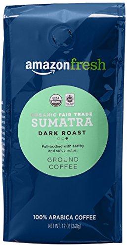 AmazonFresh Organic Fair Trade Sumatra Ground Coffee, Dark Roast, 12 Ounce