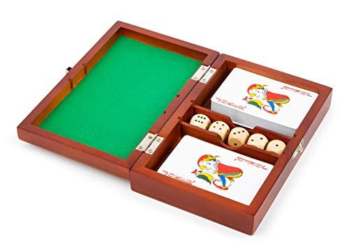 small foot 11363 speelbox kaarten en dobbelstenen, speelset met 2 kaartspellen en vijf dobbelstenen, met opbergdoos speelgoed, meerkleurig
