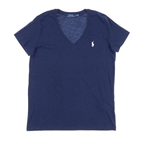 Ralph Lauren Polo para mujer con cuello en V camiseta, M, Azul marino/flor y brillo