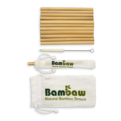 Pajitas de Bambú | Pajitas Reutilizables | Fabricadas en Bali | Pack 12 Pajitas Biodegradables | Pajitas Cócteles | Pajitas Largas | Incluye Cepillo de Limpieza y Bolsa de Jute | Bambaw (13 cm)