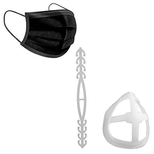 50/150 Masken Einweg Masken 3-lagig Mund und Nasenbedeckung mit Abstandshalter und Maskenverlängerung Behelfsmaske Gesichtsmaske 8888 (150 Schwarz)