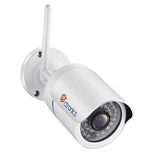 Cámara IP, Ctronics Cámara de Seguridad Exterior 1080P HD Videovigilancia Inalámbrica WIFI Cámara de Vigilancia Bala with Visión Nocturna, Detección de Movimiento, IP66 Resistente al Agua