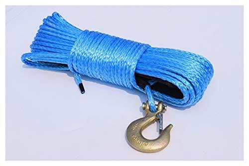 Dhmm123 Cuerdas de Remolque Línea de cabrestante Azul 6mm * 30M ATV con Gancho, Cable de cabrestante ATV, Cuerda sintética 6mm, Coche de Cuerda de Remolque