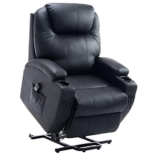HOMCOM Aufstehsessel Fernsehsessel mit Aufbewahrungstasche Massagesessel mit Aufstehhilfe Relaxsessel Verstellbarer Winkel Fernbedienung Kunstleder Schaumstoff Metallrahmen Schwarz 84 x 92 x 109 cm