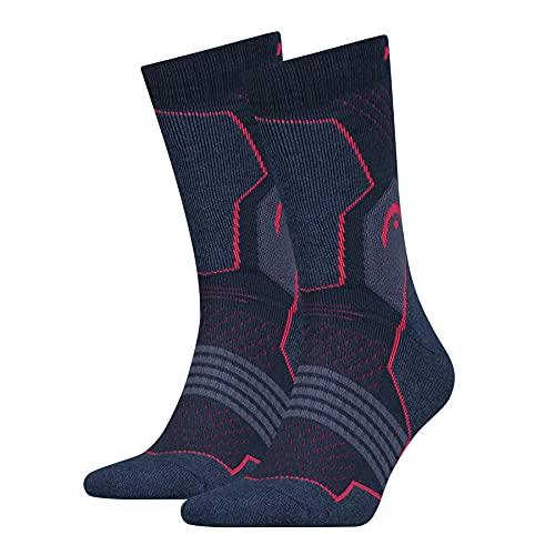 Head Hiking Crew Socks (2 Pack) Calze da trekking, Rosa/Blu, 39/42 (Pacco da 2) Unisex-Adulto