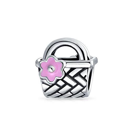 Picknick-Korb Rosa Blume Akzent Charme Perle Für Frauen Für Teen Oxidiert 925 Sterling Silber Passt Europäische Armband