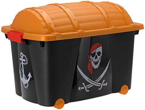 EMAKO Aufbewahrungskiste Piratenkiste Rollenbox Spielzeugbox Spielzeugkiste (Piraten)