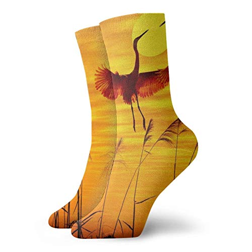 QUEMIN Casual Travel Sportsocken, Sunset Crane Socken Yoga Walking Radfahren Laufen Fußball 30 cm