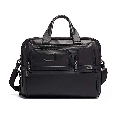 TUMI - Alpha 3 Expandable Organizer Leather Laptop Brief Briefcase - 15 Inch Computer Bag for Men and Women - Black