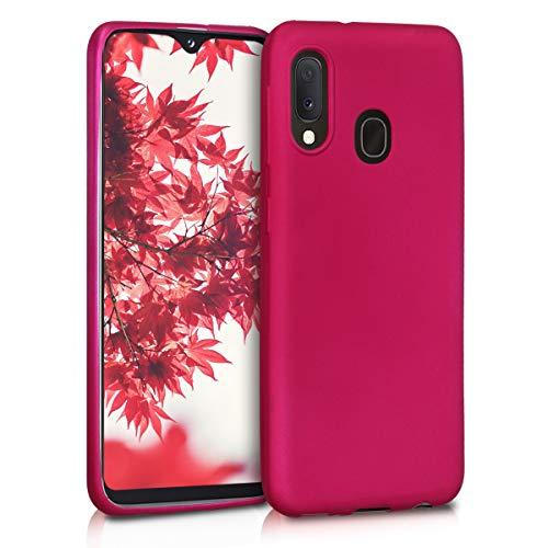 kwmobile Cover Compatibile con Samsung Galaxy A20e - Cover Custodia in Silicone TPU - Backcover Protezione Posteriore - Fucsia Metallizzato