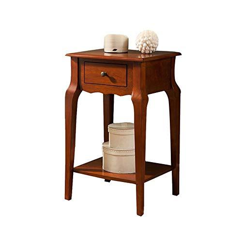 Jcnfa-bijzettafel bank eindtafel, kleine vierkante tafel met zijkasten, massief houten slaapkamernachtkastje, houten tafel met lade, 70 cm hoge zijtafel