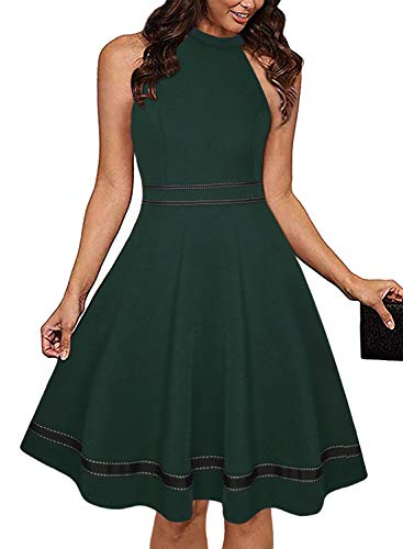 Ranphee Womens Dark Green Halter Neck Sleeveless Semi Formal Cocktail Skater Dresses (Apparel)