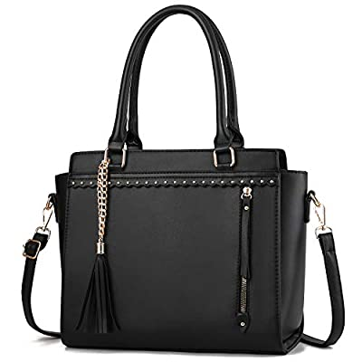 Fashion Handbags for Women PU Leather Shoulder Bag Crossbody Messenger Bag Tote Bag with Pendant Deco Black