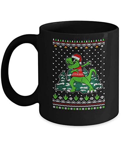 TeesNow Funny Dab Dabbing Dinosaur Ugly Christmas Sweater Xmas Mug 11oz Black