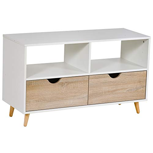 HOMCOM Meuble TV Bas sur Pieds Style scandinave 2 tiroirs Coloris chêne Clair Blanc