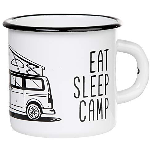EAT SLEEP CAMP - EXPLORE DRIVE REPEAT | Hochwertiger Emaille Becher mit Campervan Motiv | leicht und robust, für Camping, Vanlife | von MUGSY.de | Inhalt: 330ml