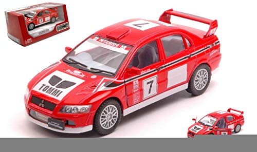 Kinsmart MODEL COMPATIBLE WITH MITSUBISHI LANCER EVO VII WRC N.7 RED/WHITE cm 12 BOX DIECAST KT5048W