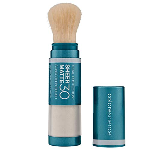 Colorescience Total Protection Sheer Matte SPF 30 Sunscreen Brush For Oily and Acne-Prone Skin, Unscented 0.15 Ounce